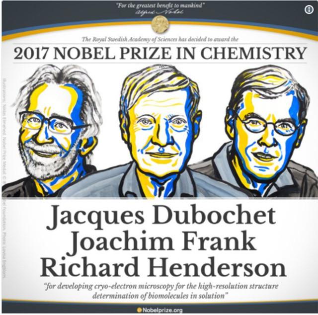Ba nhà khoa học đạt giải Nobel Hóa học 2017.