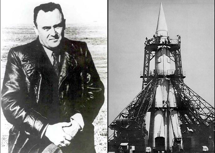 Kỹ sư trưởng của dự án Sergei Korolev và dàn phóng tên lửa R-7 cải tiến để đưa Sputnik vào quỹ đạo.