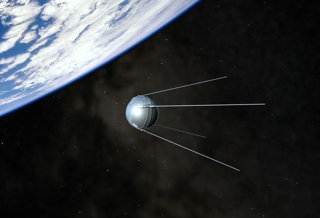Hình ảnh mô phỏng hoạt động của Sputnik 1 ngoài không gian.
