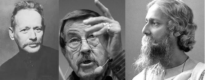Từ trái qua: Sholokhov, Gunter Grass, Tagor - các tác giả đoạt giải Nobel văn học.