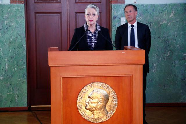 Chủ tịch Ủy ban Nobel Na Uy, bà Berit Reiss-Andersen, thông báo giải Nobel Hòa bình 2017.