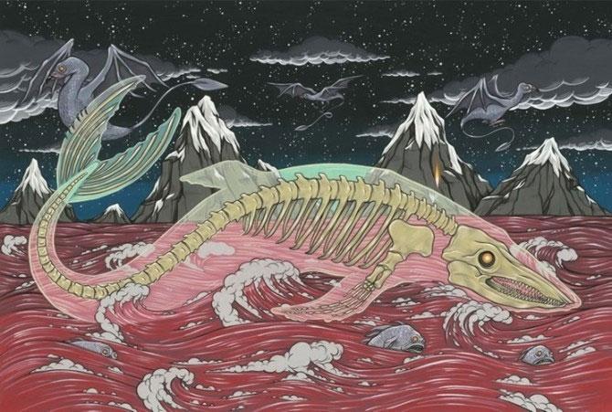 Bake-Kujira có hình dạng bộ xương cá voi khổng lồ màu trắng.
