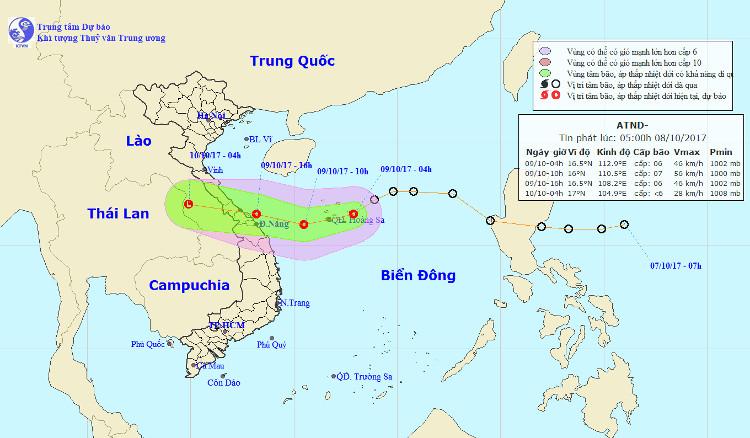 Hướng đi của áp thấp nhiệt đới.