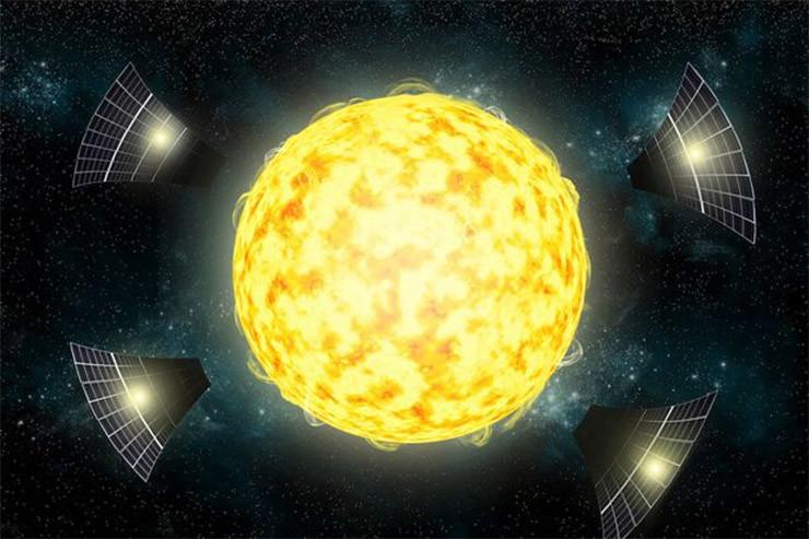 Sao mờ đi do các thiết bị của người ngoài hành tinh hút mất năng lượng.