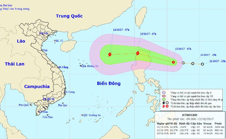 Dự báo đường đi và khu vực chịu sự tác động của áp thấp nhiệt đới.
