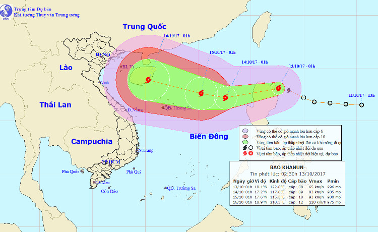 Vị trí và hướng đi của bão Khanun.