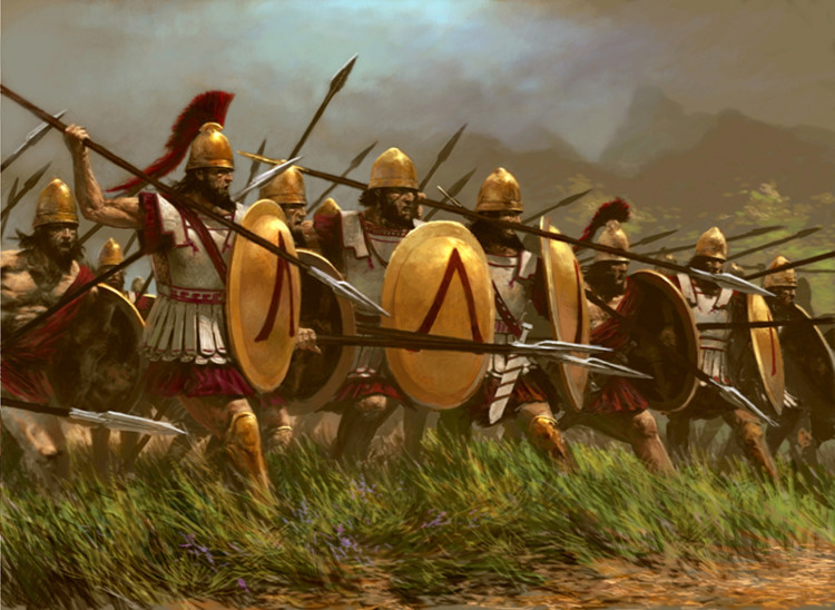 Những chiến binh Sparta nổi tiếng với giáo và khiên.