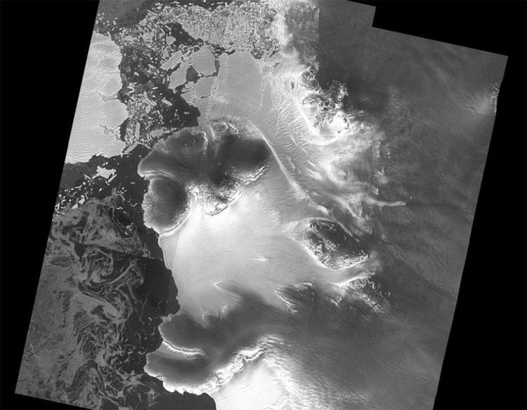 Ảnh chụp tầng băng Dotson từ vệ tinh Sentinel-1 của ESA.
