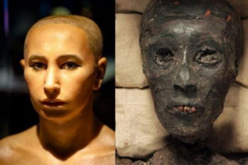 Cận cảnh khuôn mặt của pharaoh Tutankhamun