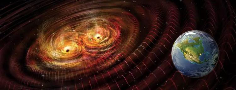Vụ va chạm giữa 2 vật thể có khối lượng cực lớn - như 2 hố đen - sẽ tạo ra sóng hấp dẫn có thể quan sát.
