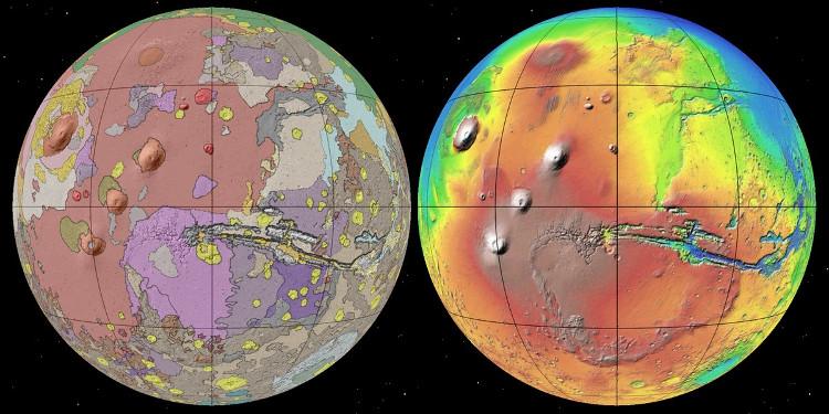 Bản đồ địa chất của Sao Hỏa (trái) và bản đồ thể hiện độ cao trên bề mặt (phải).
