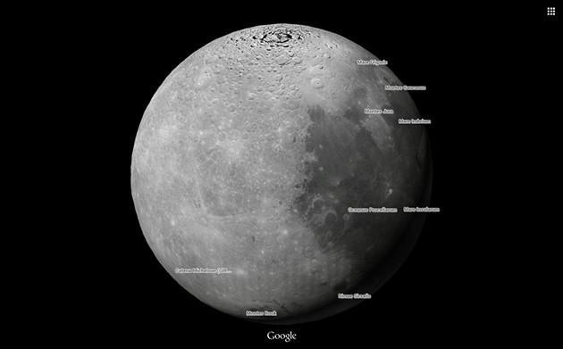 Mặt trăng xem từ Google Maps.