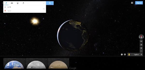 Cách xem bản Mặt trăng bằng Google Maps.
