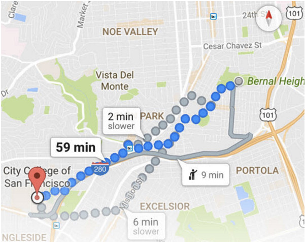 Maps có thể giả định rằng có sự sai lệch, và sẽ theo đó mà điều chỉnh hướng đi.
