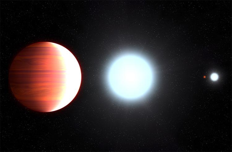 Ngoại hành tinh Kepler-13Ab với quỹ đạo rất gần ngôi sao chủ Kepler-13A của nó