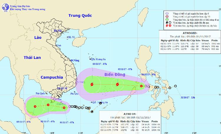 Vị trí của áp thấp nhiệt đới gần bờ và áp thấp nhiệt đới gần biển Đông.