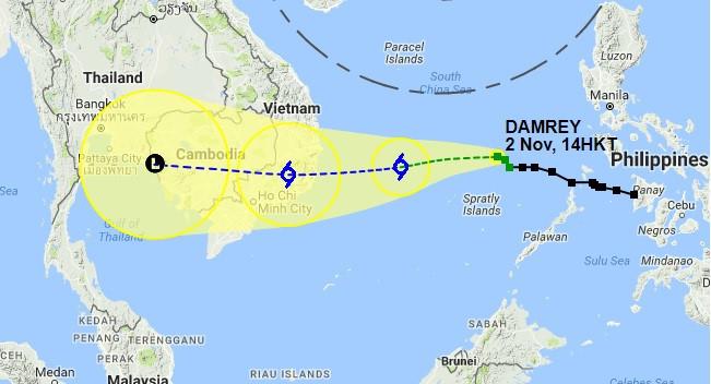 Cơ quan Khí tượng Hong Kong dự báo hướng di chuyển của bão Damrey.