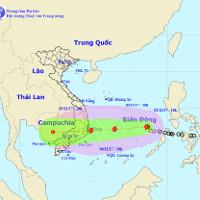 Áp thấp nhiệt đới thành bão Damrey, uy hiếp Bình Định - Ninh Thuận