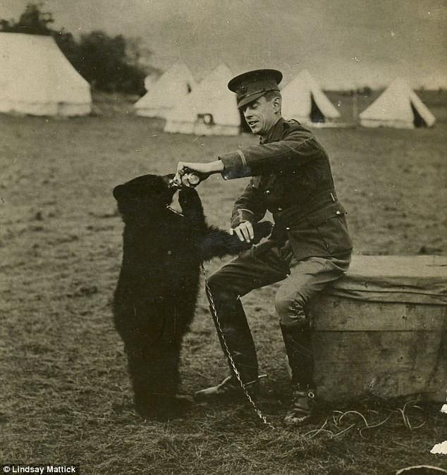 """Hary Colebourn bên cạnh """"cô gấu"""" của mình."""