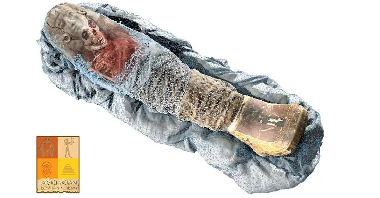 Ảnh chụp CT được kết hợp với các bản quét 3D bề mặt xác ướp để tạo ra một mô hình 3D. (Ảnh: Volume Graphics).