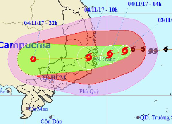 Đường đi của bão Damrey.