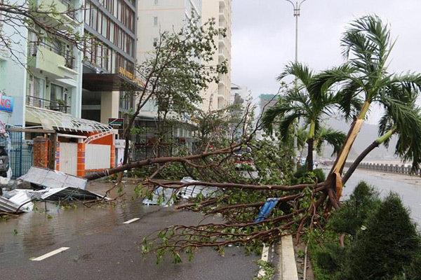 Đường Phạm Văn đồng, TP Nha Trang - tuyến đường du lịch ven biển bị bão đánh tả tơi