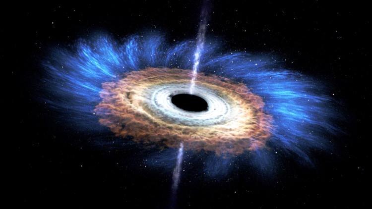 """Lỗ đen gọi là """"đen"""" bởi vì nó hấp thụ mọi bức xạ và vật chất hút qua chân trời sự kiện."""