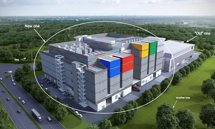 Trung tâm dữ liệu của Google đặt tại Singapore đang được mở rộng (vùng khoanh tròn).