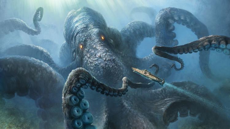 Minh họa quái vật mực Kraken trong truyền thuyết.