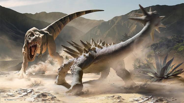 Khủng long bạo chúa và khủng long Ankylosaurus.