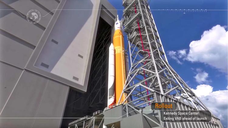 Tên lửa và tàu vũ trụ Orion được lắp đặt vào bệ phóng.