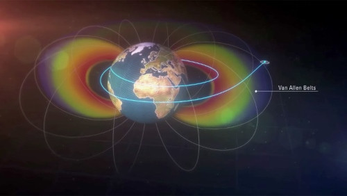 Sau khi thực hiện vài vòng quay quanh Trái Đất, tàu vượt khỏi vành đai bức xạ Van Allen.