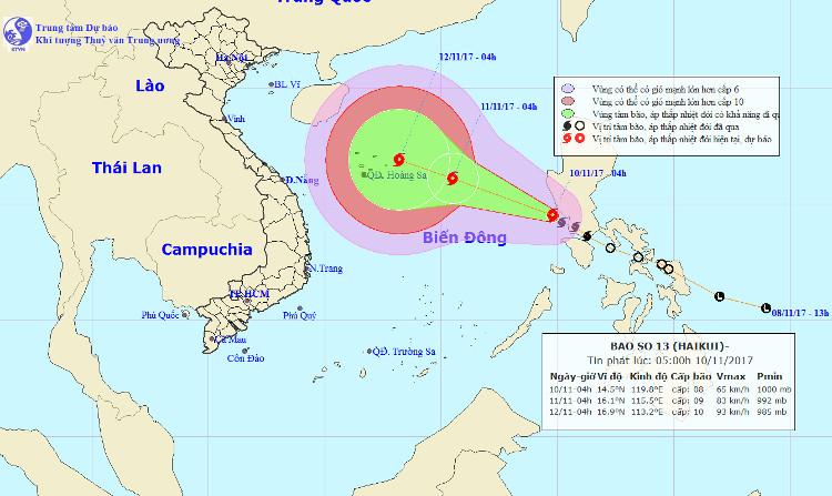 Vị trí và hướng đi của bão Haikui.