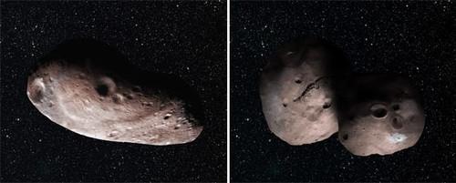 Mô phỏng cho thấy hai trường hợp hình dạng của 2014 MU 69.