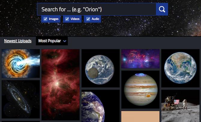 NASA Image Library (web): thư viện ảnh của NASA