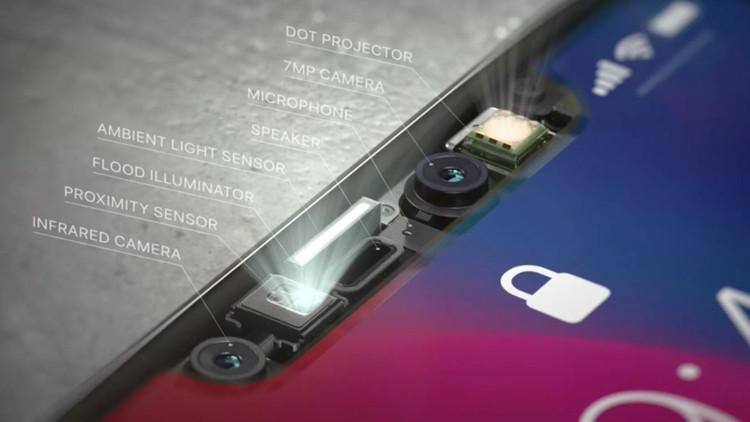 Các thành phần trên camera TrueDepth giúp Face ID trên iPhone X hoạt động.