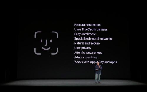 Apple liệt kê các tính năng của Face ID tại buổi giới thiệu iPhone X hồi tháng 9.