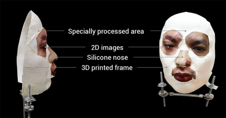 Cấu trúc mặt nạ Bkav dùng để đánh lừa Face ID iPhone X.