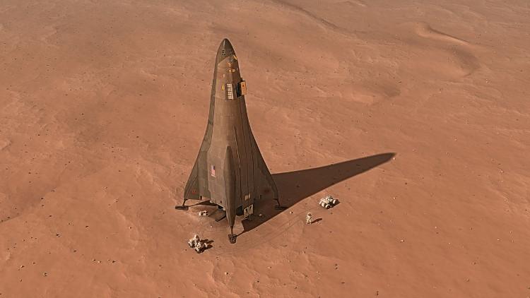 Hình ảnh phác họa tàu thăm dò sao Hỏa của Lockheed Martin và con người trên sao Hỏa.