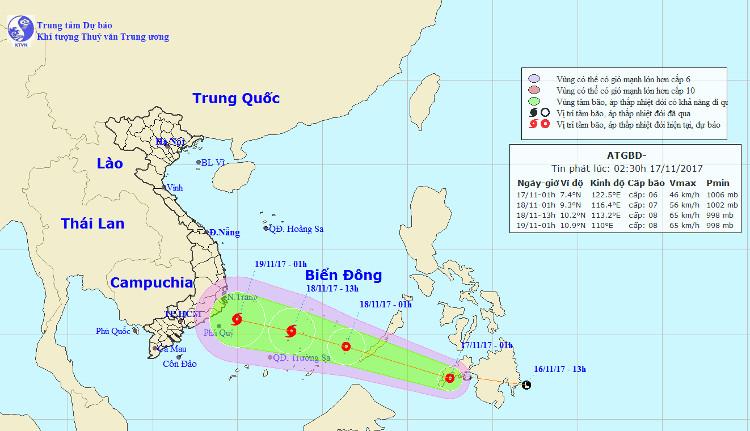 Vị trí và hướng đi của áp thấp nhiệt đới.
