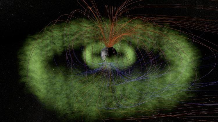 Hình ảnh phục dựng Vành đai bức xạ (màu xanh) Van Allen.