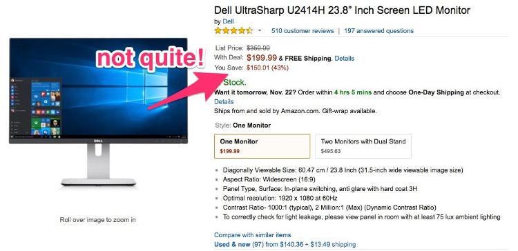 """Hình chụp trên website CCC về một deal màn hình máy tính """"tưởng là ngon""""."""