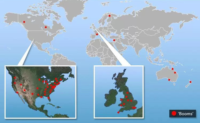 Nhiều khu vực trên thế giới ghi nhận âm thanh giống tiếng nổ chưa rõ nguồn gốc.