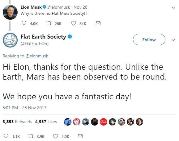 Câu trả lời của hội Trái đất phẳng đến Elon Musk.