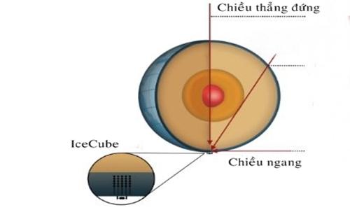 Đường di chuyển của các hạt neutrino tới máy dò IceCube