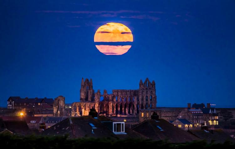Bầu trời đêm ở khu vực tu viện cổ Whitby, vùng Yorkshire ở Anh.