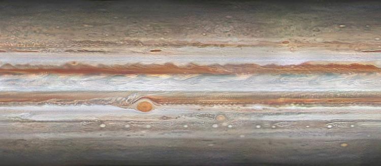 Tiếp theo là bức ảnh hàng loạt cơn bão từ với nhiều quy mô lớn nhỏ trên sao Mộc