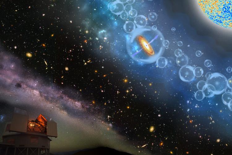 Hình vẽ mô tả sự phát triển của chuẩn tinh với hydrogen trung tính bao quanh.