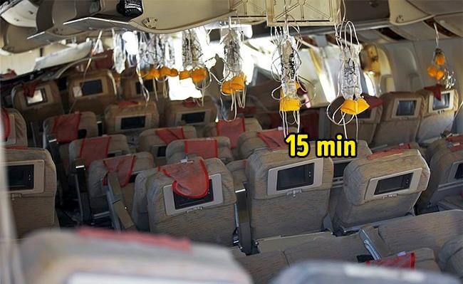 15 phút là đủ để phi công hạ độ cao máy bay đến nơi có áp suất tốt hơn để bạn có thể thở được bình thường.