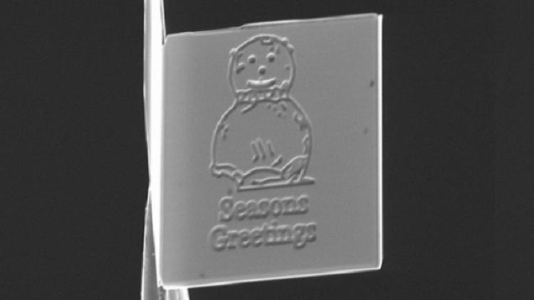 Hình ảnh trên tấm thiệp Giáng sinh nhỏ nhất thế giới.